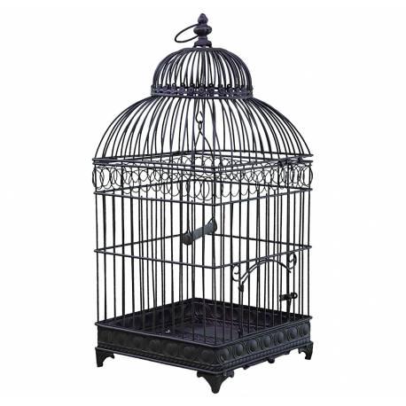 Petite Cage à Oiseaux de Jardin Intérieur Extérieur Ronde en Fer Patiné Marron 16x16x42cm