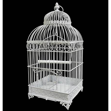 Petite Cage à Oiseaux de Jardin Intérieur Extérieur Carrée en Fer Patiné Blanc 20,5x20,5x45,5cm