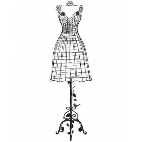 Grand Buste de Couture Mannequin Porte Bijoux ou Robe de Mariée sur Pied en Fer Patiné Marron 34x68x152cm