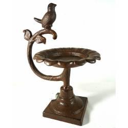 Bénitier Façon Bain Oiseaux ou Mangeoire Intérieure Extérieure en Fonte Patinée Marron 15x19x25cm