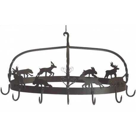 Petit Râtelier Porte Jambons Ovale ou Porte Ustensiles de Cuisine Motifs Chasse en Fer Patiné Marron 37x43x77cm