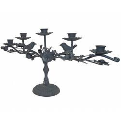 Chandelier de Table 5 Bougies à Poser ou Candélabre Décoratif Motif Fleurs et Feuilles 5 Feux en Fer Patiné Gris 10x23x46,5cm