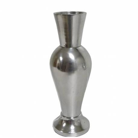 Vase à Fleurs à Poser ou Soliflore en Aluminium Argenté 5,5x5,5x16cm