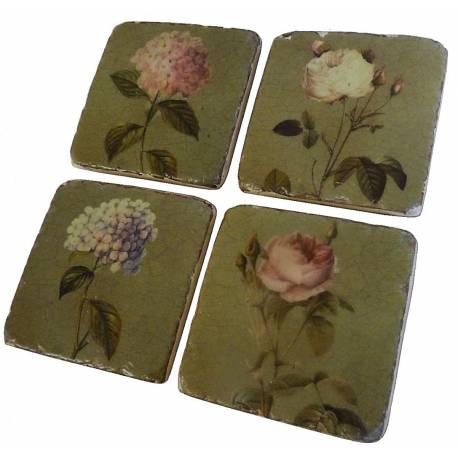Lot de 4 Dessous de Verre Motifs Cadres Floraux Sous Bocks Carrés Décoratifs en Résine Ton Marbre 1x9,5x9,5cm