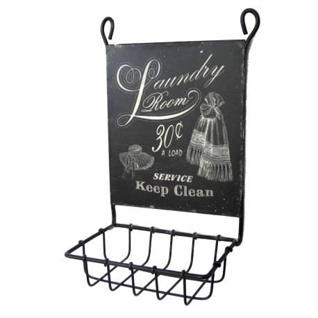 Porte Savon avec Plaque Publicitaire Ovale ou Panière Murale à Fixer Inscription Laundry Room en Fer Patiné Noir 7x12x18cm