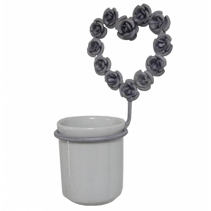 Porte gobelet brosse dents mural ou pat re circulaire et son verre motif coeur fixer en for Porte en fer et verre