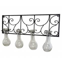 Applique Multi Vases à Fixer ou 4 Soliflores Muraux en Fer et Verre Patiné Noir 6x28x44cm