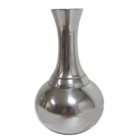 Vase à Fleurs à Poser ou Soliflore en Aluminium Argenté 9,5x9,5x16cm