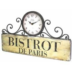 Horloge Murale ou à Poser Pendule Rectangulaire en Fer Bistrot De Paris 4x28x48cm