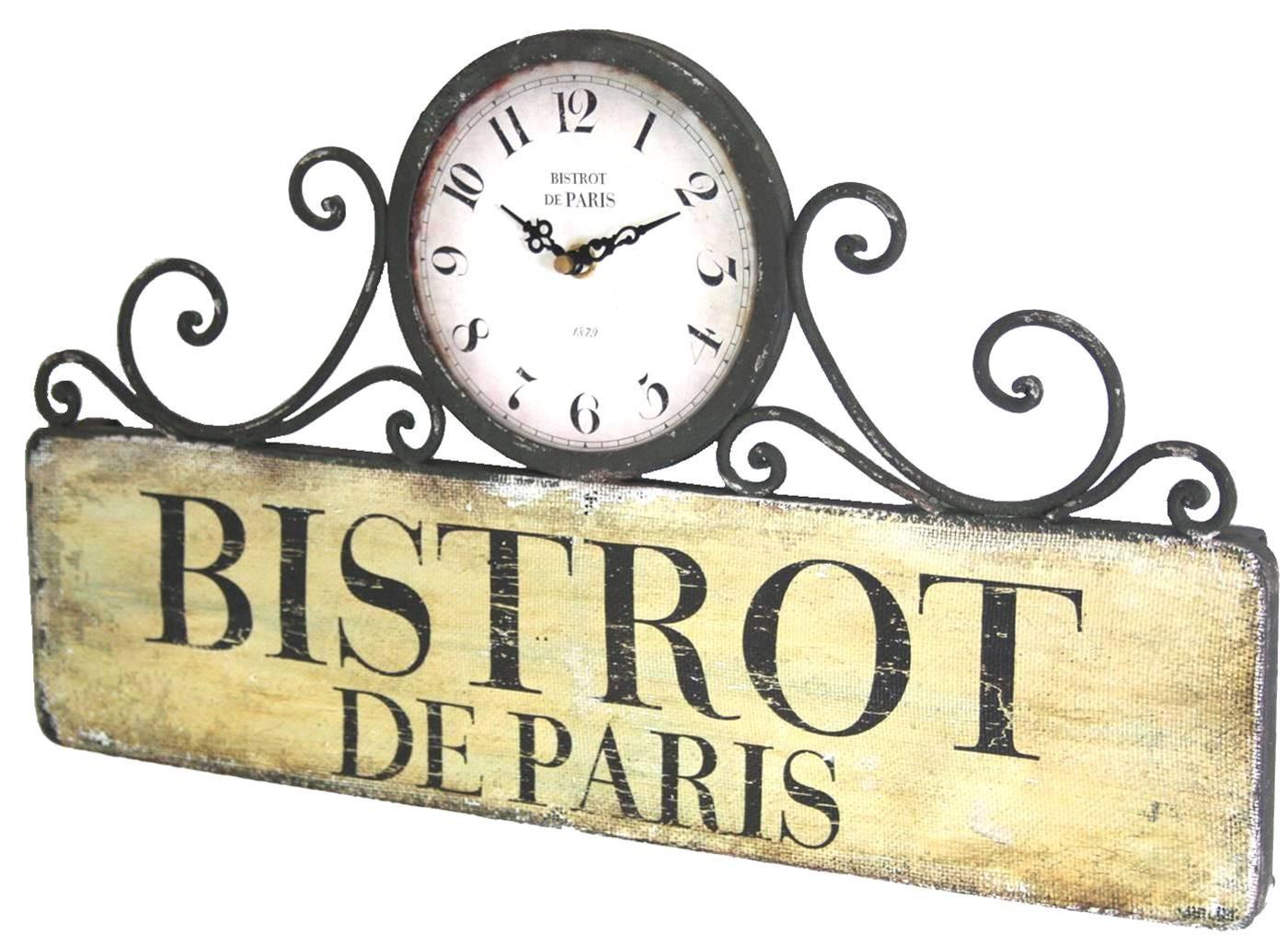 horloge murale ou à poser pendule rectangulaire en fer bistrot de