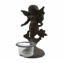 Bougeoir Sculpture Style Chérubin ou Angelot à Poser ou Porte Photophore 1 Bougie en Fonte Patinée Marron 9,5x9,5x21cm