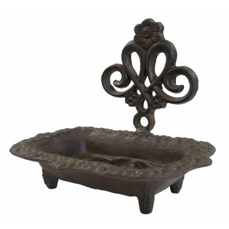 Porte Savon Rectangulaire Style Baignoire sur Pied ou Support à Savonnette Motifs Floraux en Fonte Patinée Marron 10,5x13,5x15cm