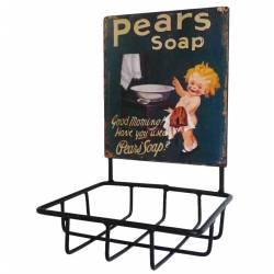 Porte Savon avec Plaque Publicitaire Ovale ou Panière Murale à Fixer Inscription Pears Soap en Fer Patiné Noir 10x13x19cm