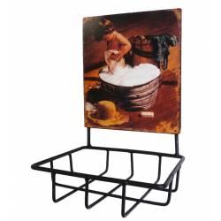 Porte Savon avec Plaque Publicitaire Ovale ou Panière Murale à Fixer en Fer Patiné Noir 10x13x19cm
