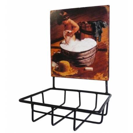Porte savon avec plaque publicitaire ovale ou pani re for Plaque murale salle de bain
