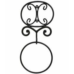 Patère à Fixer ou Porte Serviette Range Serviettes Torchon Mural en Fer Patiné Noir 4,5x19x41,5cm