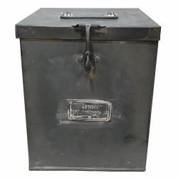 Moyenne Boite Malle Ancienne Caisse Recettes Cuisine Coffre Rangement Boîte Photos Métallique en Zinc 18x18x27cm