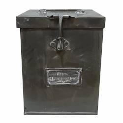 Petite Boite Malle Ancienne Caisse Recettes Cuisine Coffre Rangement Boîte Photos Métallique en Zinc 16x16x25cm