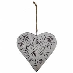 Coeur Décoratif à Suspendre Décoration Murale en Fer Blanc Motif Floral 1,5x13x13cm
