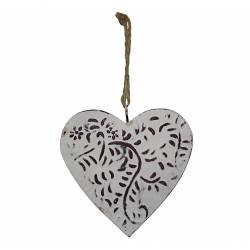 Petit Coeur Décoratif à Suspendre Décoration Murale en Fer Blanc Motif Floral 1,5x11x11cm