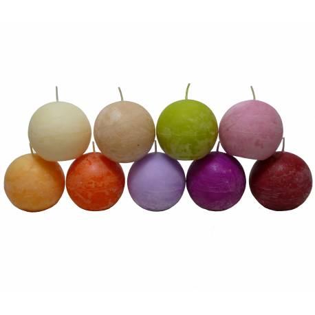 Bougie de Cire Forme Boule Parfumée Fruitée ou Florale pour Photophores ou à Poser 7,5x7,5x7,5cm