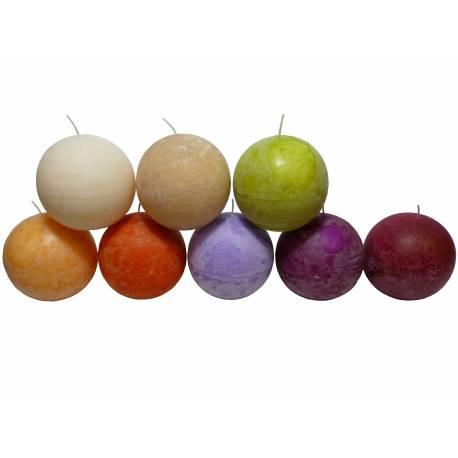 Bougie de Cire Forme Boule Parfumée Fruitée ou Florale pour Photophores ou à Poser 12,5x12,5x12,5cm