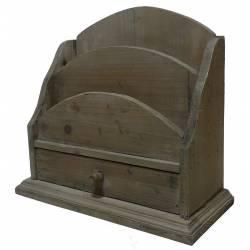 Porte Courrier avec Tiroir Range Papier Trieur Lettre En Bois Patiné Marron 13x27x30cm