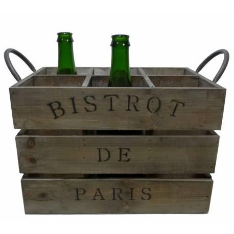 Casier à 6 Bouteilles Porte Bouteille Caisse en Bois Inscription Bistrot de Paris 22x26x33cm