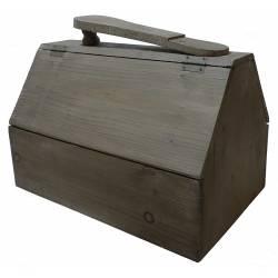 Boite de Cirage Traditionnelle Repose Pied Caisse Rangement Coffret en Bois 25,5x32x40cm