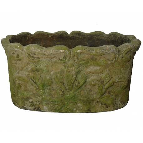 Jardinière Ovale ou Cache Pot Décoratif de Jardin en Terre Cuite 17,5x20x34cm