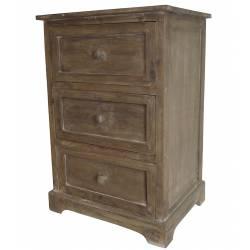 Table de Chevet Meuble d'Appoint Console de Rangement Guéridon de Nuit à 3 Tiroirs en Bois 39x48x71cm