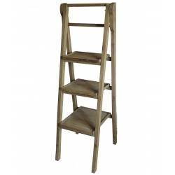 Etagère Echelle Meuble Escalier Escabeau Bibliothèque Présentoir en Bois à 3 Etages Pliable 45x45x137cm