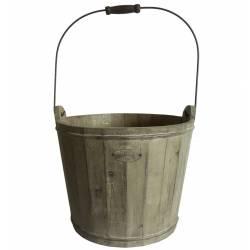 Petit Seau Décoratif Cache Pot Jardinière en Bois Patiné Marron 14,5x14,5x26,5cm