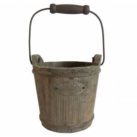 Moyen Seau Décoratif Cache Pot Jardinière en Bois Patiné Marron 18,5x18,5x31cm