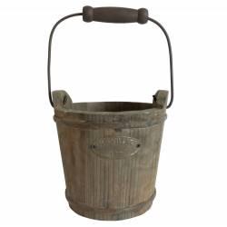 Très Grand Seau Décoratif Cache Pot Jardinière en Bois Patiné Marron 33x33x52,5cm