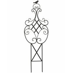 Grande Grille Treillis Tuteur à Fleurs Plantes en Fer et Oiseaux en Fonte 2x40x122cm