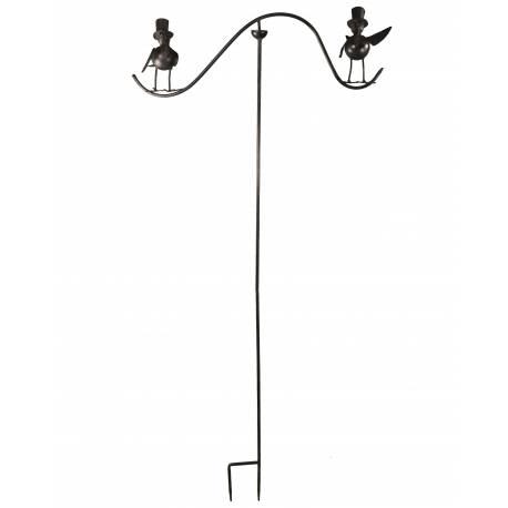 Tuteur Tige pour Plantes Motifs Double Oiseaux ou Mobile de Jardin Rotatif à Planter en Fer Patiné Marron 62x62x139cm