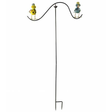 Tuteur Tige pour Plantes Motifs Double Oiseaux ou Mobile de Jardin Rotatif à Planter en Fer Patiné Multicolore 62x62x139cm