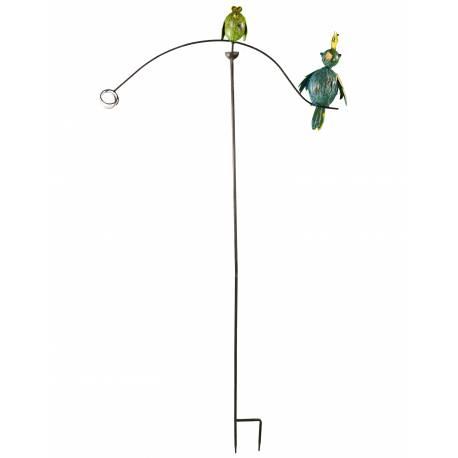 Tuteur Tige pour Plantes Motifs Duo d'Oiseaux ou Mobile de Jardin Rotatif à Planter en Fer Patiné Multicolore 72x72x144cm