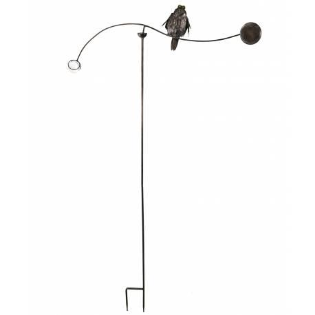Tuteur Tige pour Plantes Motifs Oiseaux ou Mobile de Jardin Rotatif à Planter en Fer Patiné Marron 82x82x144cm