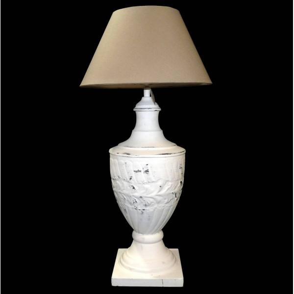 Grande Lampe Electrique à Poser Luminaire de Chevet en Fer Blanc avec Abat Jour en Lin 30x30x62cm