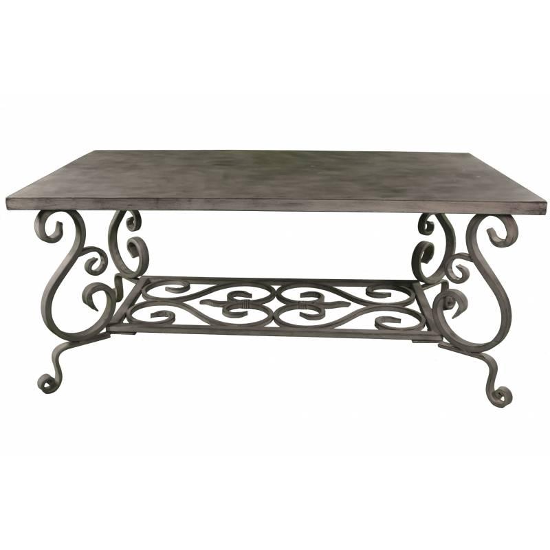 Grande table basse en fer gris console de salon volutes 48x66x111cm l 39 h ritier du temps for Grande table basse de salon