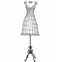 Grand Buste de Couture Mannequin Porte Bijoux ou Robe de Mariée sur Pied en Fer Patiné Noir 33x47x150cm