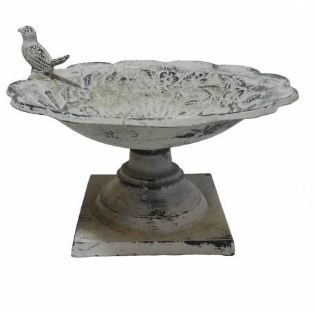 Coupelle Style Bain a Oiseaux à Poser ou Mangeoire de Jardin en Fonte Patinée Grise 20x28x28cm