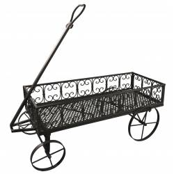 Chariot à Roulettes Panier à Bois Porte Buche Ranges Buches de Cheminée Charrette à Plante en Fer Marron 38x90cm