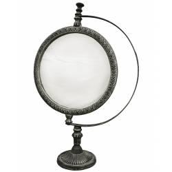 Miroir de Coiffeuse Type Psyché à Poser Glace Ronde Orientable en Fonte d'Aluminium 23x40cm
