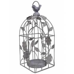 Cage à Oiseaux Style Bougeoir ou Volière Décorative Motifs Oiseaux à Suspendre en Fer Patiné Gris 13x13x33cm