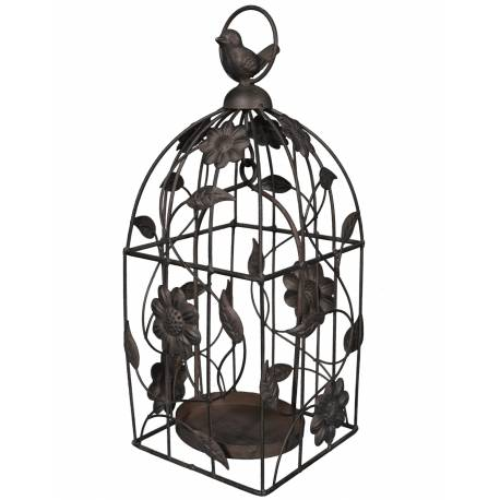 Cage à Oiseaux Style Bougeoir ou Volière Décorative Motifs Oiseaux à Suspendre en Fer Patiné Marron 13x13x33cm