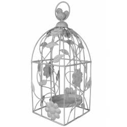Cage à Oiseaux Style Bougeoir ou Volière Décorative Motifs Oiseaux à Suspendre en Fer Patiné Blanc 13x13x33cm