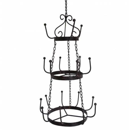 Lustre Porte Tasses 18 Crochets ou Porte Ustensiles 3 Etages Style Brocante Rond en Fer Patiné Marron 29,5x29,5x74cm